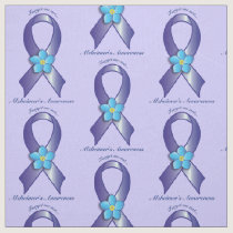 Alzheimer's Awareness Ribbon with Forget Me Not Fabric