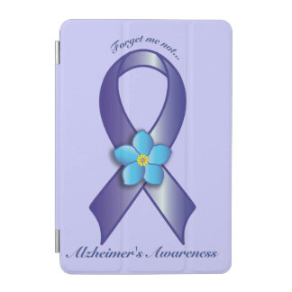 Alzheimer's Awareness Ribbon with Forget Me Not iPad Mini Cover