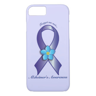 Alzheimer's Awareness Ribbon with Forget Me Not iPhone 8/7 Case
