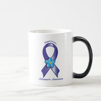 Alzheimer's Awareness Ribbon with Forget Me Not Magic Mug