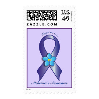 Alzheimer's Awareness Ribbon with Forget Me Not Postage Stamp