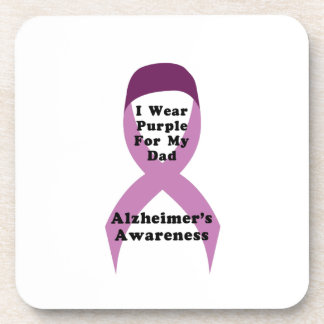 Alzheimers Awareness Wear For My Dad Gif Beverage Coaster