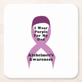 Alzheimers Awareness Wear For My Dad Gif Square Paper Coaster