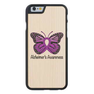 Alzheimer's Butterfly Awareness Ribbon Carved Maple iPhone 6 Slim Case