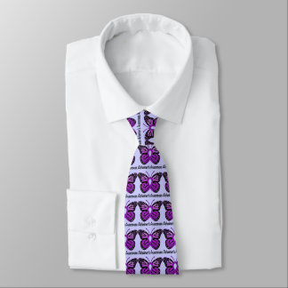 Alzheimer's Butterfly Awareness Ribbon Neck Tie