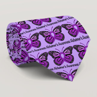 Alzheimer's Butterfly Awareness Ribbon Tie