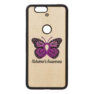 Alzheimer's Butterfly Awareness Ribbon Wood Nexus 6P Case