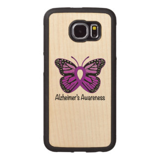 Alzheimer's Butterfly Awareness Ribbon Wood Phone Case