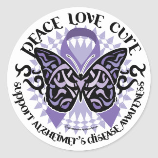 Alzheimers Butterfly Tribal 2 Classic Round Sticker
