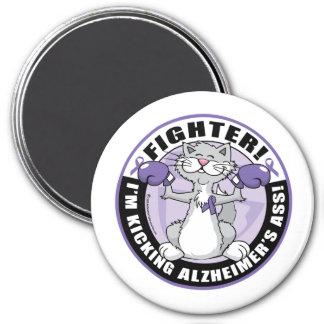 Alzheimers Cat Fighter 3 Inch Round Magnet