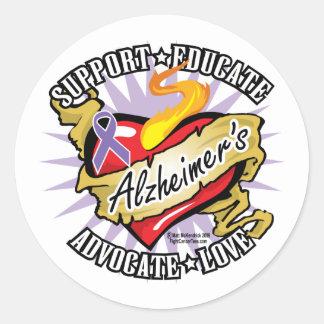 Alzheimers Classic Heart Classic Round Sticker