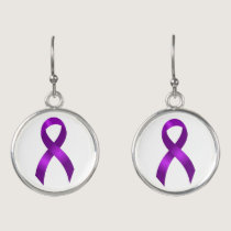 Alzheimers | Crohns & Colitis | Purple Ribbon Earrings
