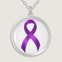 Alzheimers | Crohns & Colitis | Purple Ribbon Silver Plated Necklace