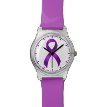 Alzheimers | Crohns & Colitis | Purple Ribbon Wristwatch