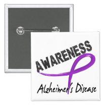 Alzheimer's Disease Awareness 3 Pinback Button