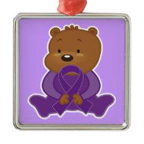 Alzheimers Disease Awareness Bear Keepsake Metal Ornament