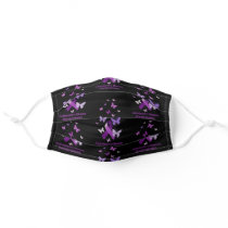 Alzheimer's Disease Awareness Purple Ribbon Adult Cloth Face Mask