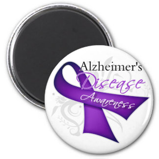 Alzheimer's Disease Awareness Ribbon 2 Inch Round Magnet