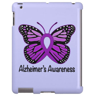 Alzheimer's Disease Awareness Ribbon and Butterfly