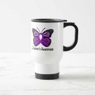 Alzheimer's Disease Awareness Ribbon and Butterfly Travel Mug