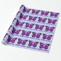 Alzheimer's Disease Awareness Ribbon and Butterfly Wrapping Paper