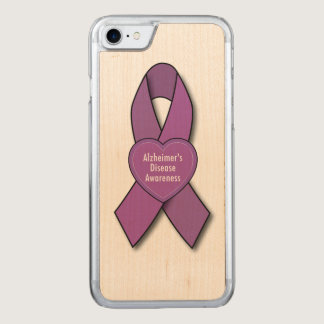 Alzheimer's Disease Awareness Ribbon with Heart Carved iPhone 7 Case