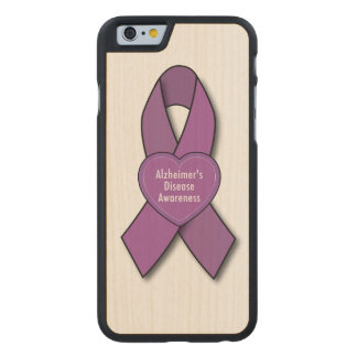 Alzheimer's Disease Awareness Ribbon with Heart Carved® Maple iPhone 6 Slim Case