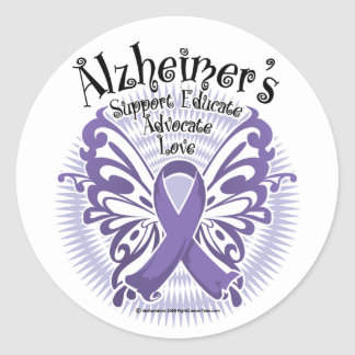 Alzheimer's Disease Butterfly 3 Classic Round Sticker