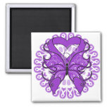 Alzheimers Disease Butterfly Circle of Ribbons 2 Inch Square Magnet