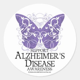 Alzheimer's Disease Butterfly Classic Round Sticker