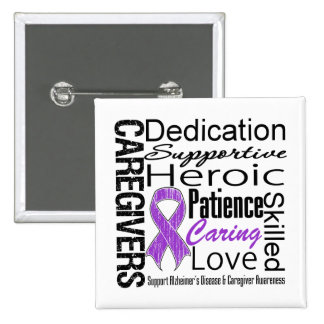 Alzheimers Disease Caregivers Collage 2 Inch Square Button