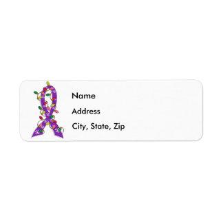 Alzheimer's Disease Christmas Lights Ribbon Label