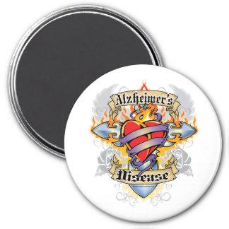 Alzheimers Disease Cross & Heart 3 Inch Round Magnet