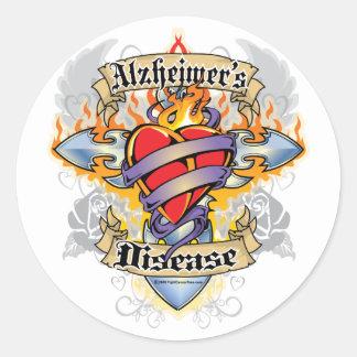 Alzheimers Disease Cross & Heart Classic Round Sticker