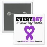Alzheimer's Disease Every Day I Miss My Mother 2 Inch Square Button