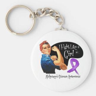Alzheimers Disease Fight Like a Girl Rosie Riveter Key Chain