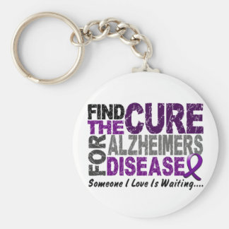 ALZHEIMERS DISEASE Find The Cure 1 Basic Round Button Keychain