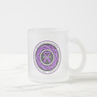 Alzheimers Disease Hope Intertwined Ribbon 10 Oz Frosted Glass Coffee Mug
