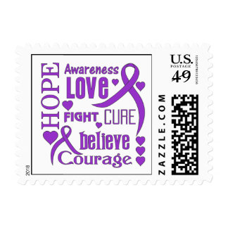 Alzheimer's Disease Hope Words Collage Postage Stamp
