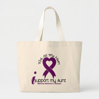 Alzheimers Disease I Support My Aunt Large Tote Bag