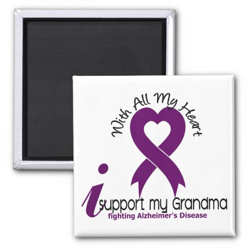 Alzheimers Disease I Support My Grandma 2 Inch Square Magnet