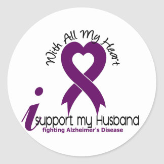 Alzheimers Disease I Support My Husband Classic Round Sticker