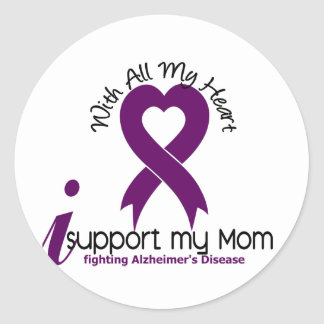 Alzheimers Disease I Support My Mom Classic Round Sticker