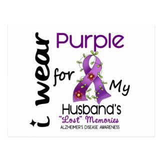 Alzheimers Disease I Wear Purple For My Husband 43 Postcard