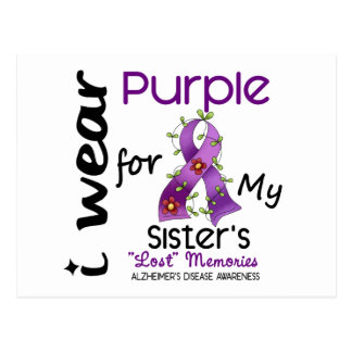 Alzheimers Disease I Wear Purple For My Sister 43 Postcard