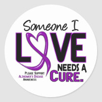 Alzheimer's Disease NEEDS A CURE 2 Classic Round Sticker