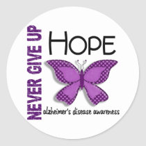 Alzheimer's Disease Never Give Up Hope Butterfly 4 Classic Round Sticker