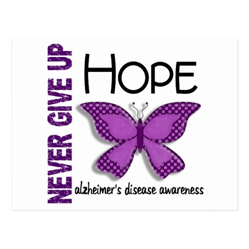 Alzheimer's Disease Never Give Up Hope Butterfly 4 Postcards