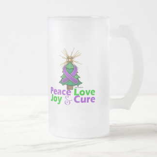 Alzheimer's Disease Peace Love Joy Cure 16 Oz Frosted Glass Beer Mug