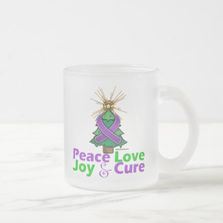 Alzheimer's Disease Peace Love Joy Cure 10 Oz Frosted Glass Coffee Mug